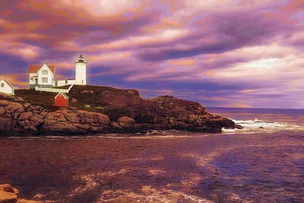 Digital Art - Nubble Lighthouse by Rusty R Smith