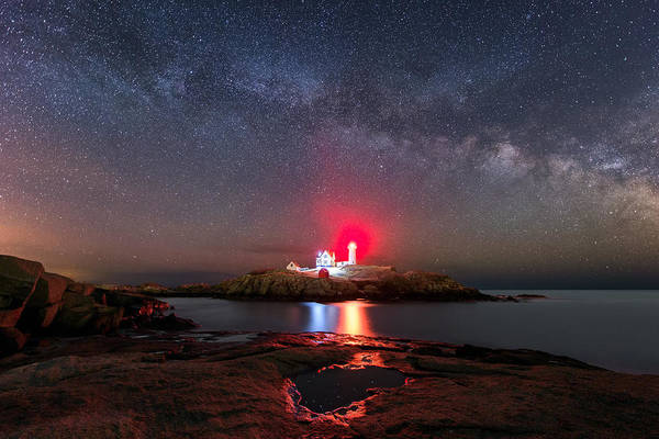 Photograph - Nubble Night by Michael Blanchette