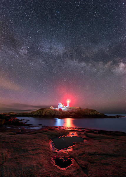 Photograph - Nubble Night - Vertical by Michael Blanchette