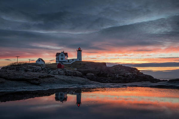 Photograph - Nubble Sunrise Reflection by Colin Chase