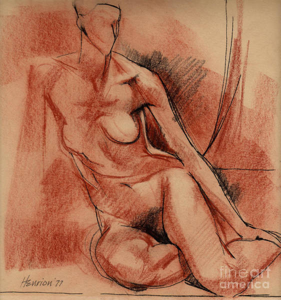 Nude Drawing - Nude 007 by Edward Henrion