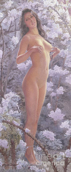 Full Bloom Painting - Nude Amongst Flowers by Carlos Schwabe