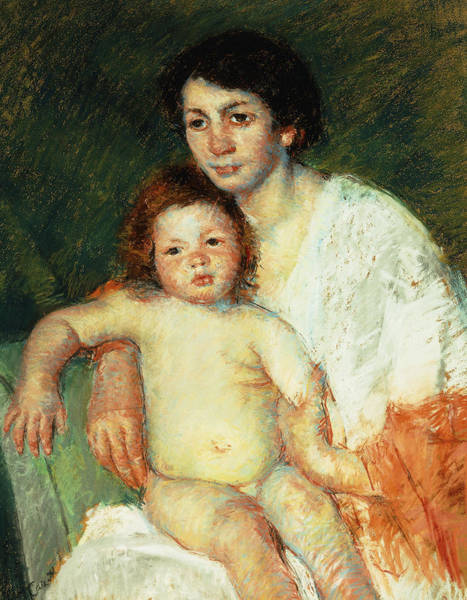 Intimate Portrait Wall Art - Painting - Nude Baby On Mother's Lap Resting Her Right Arm On The Back Of The Chair by Mary Stevenson Cassatt