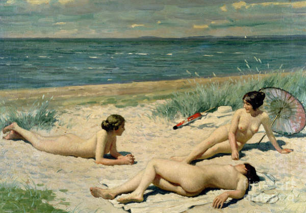 Unclothed Wall Art - Painting - Nude Bathers On The Beach by Paul Fischer