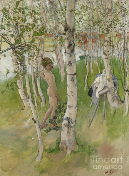 Bottom Painting - Nude Boy Among Birches by Carl Larsson