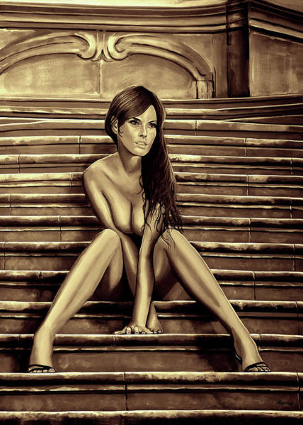 Unclothed Wall Art - Mixed Media - Nude City Beauty Sepia by Paul Meijering