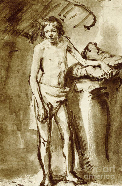 Male Nude Drawing - Nude Drawing For A Youth by Rembrandt Harmensz van Rijn