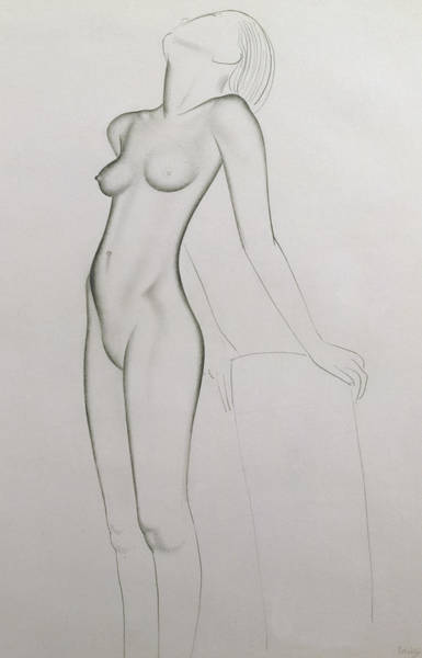 Gill Drawing - Nude by Eric Gill