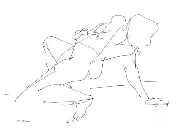 Drawing - Nude-female-drawing-17 by Gordon Punt