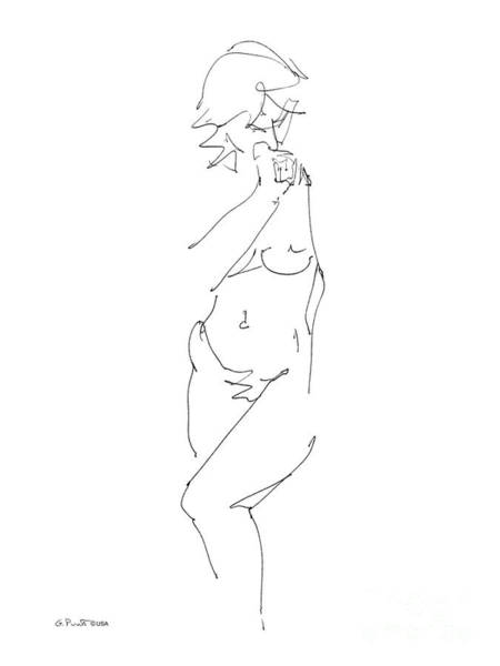 Drawing - Nude Female Drawings 18 by Gordon Punt