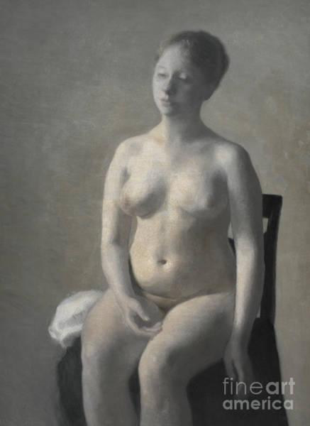 Wall Art - Painting - Nude Female Model, 1889 by Vilhelm Hammershoi