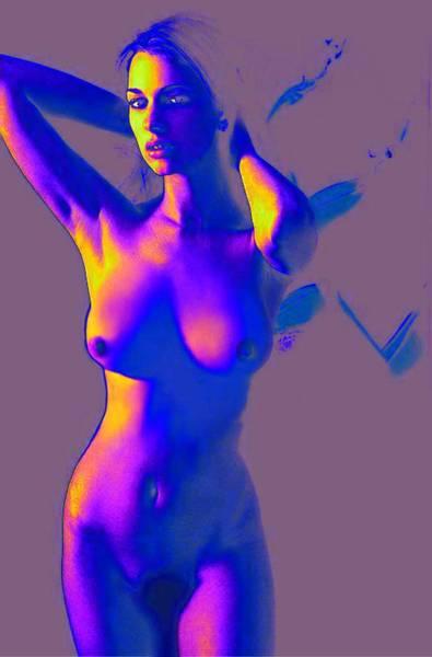 Nude Female Portrait Jean Standing Art Print