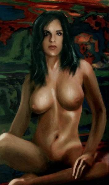 Nude Female Portrait Sara Seated Female Nude Torso Art Print