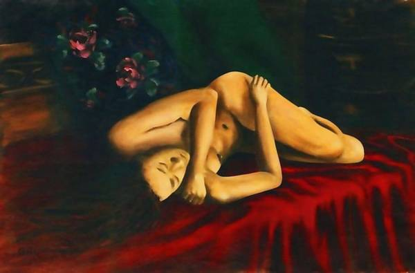 Painting - Nude Female Portrait Stacy Reclining by G Linsenmayer