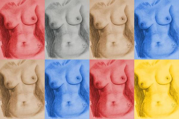 Warhol Drawing - Nude Female Torso - Ppsfn-0002-montage-03 by Pat Bullen-Whatling