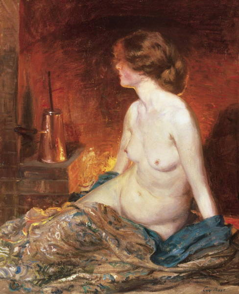 Perfect Body Painting - Nude Figure By Firelight by Guy Rose