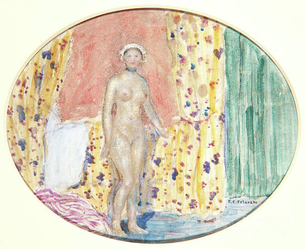 Blue Bonnet Wall Art - Painting - Nude by Frederick Carl Frieseke