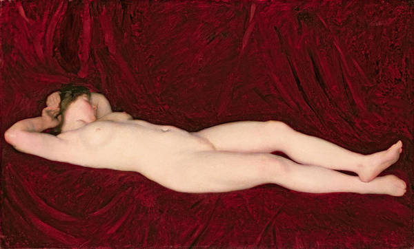 Wall Art - Painting - Nude In Red Background by Karoly Ferenczy