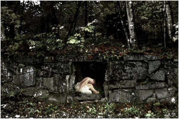 Photograph - Nude Reclining In A Stone Portal by Wayne King