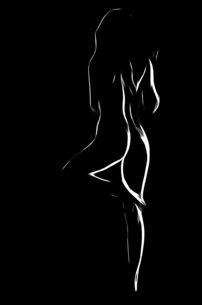 Wall Art - Painting - Nude In White And Black by Steve K