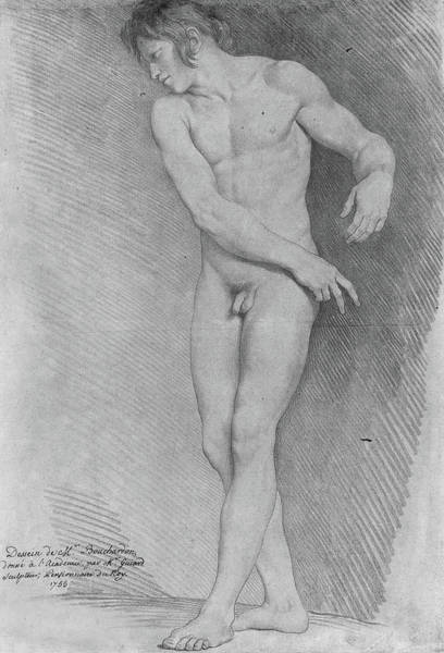Full Length Drawing - Nude Looking Down To The Left by Edme Bouchardon