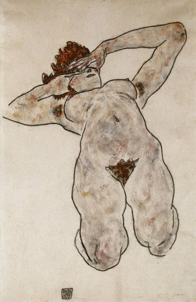 Posture Painting - Nude Lying Down by Egon Schiele