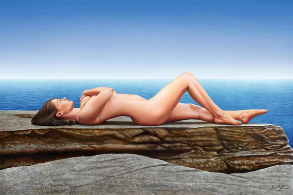 Wall Art - Painting - Nude Lying On The Rocks by Horacio Cardozo
