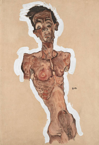20th Century Man Drawing - Nude Self-portrait by Egon Schiele