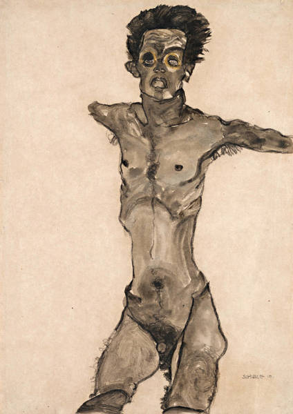 Selfportrait Painting - Nude Self-portrait In Gray With Open Mouth by Egon Schiele