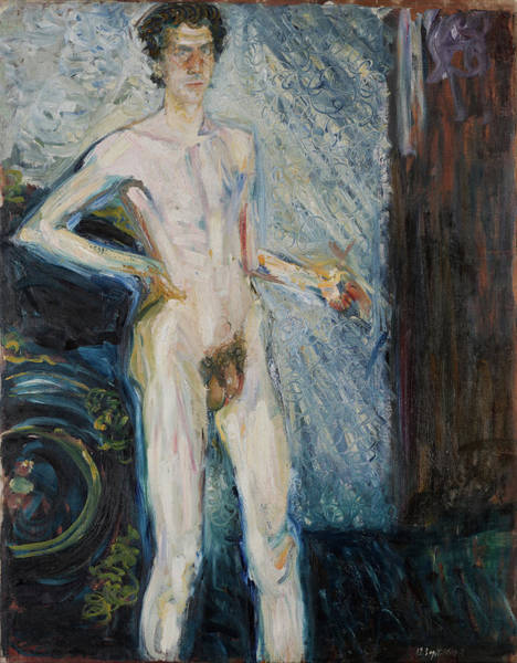 Having Sex Painting - Nude Self-portrait With Palette by Richard Gerstl