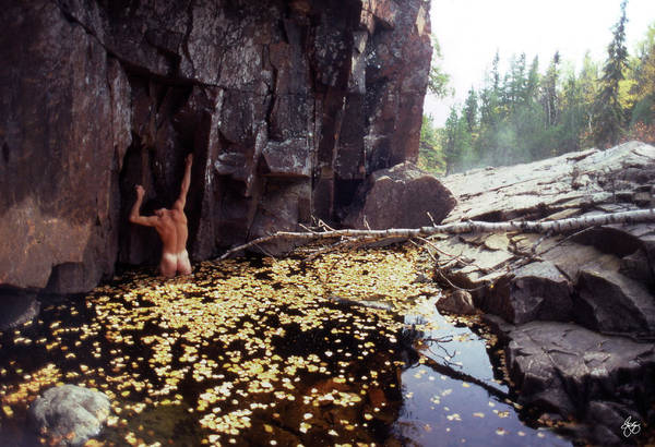 Photograph - Nude Standing In A Leaf Pool  by Wayne King