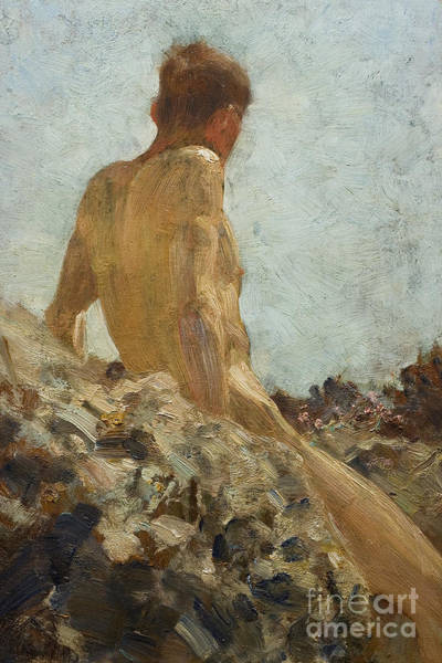 Adolescent Painting - Nude Study by Henry Scott Tuke