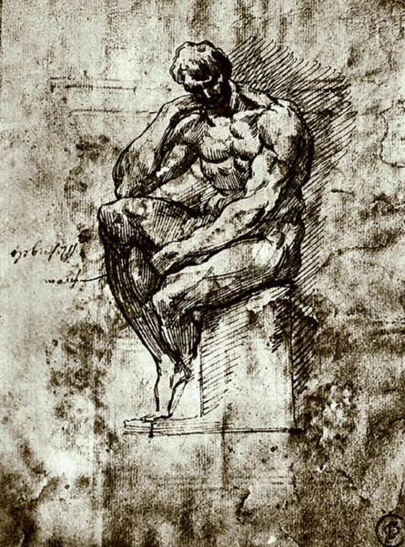 Painting - Nude Study Number Four by Michelangelo Buonarroti