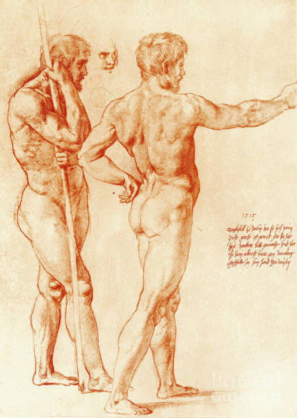 Male Model Drawing - Nude Study Of Two Warriors by Raphael
