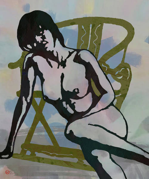 Wall Art - Mixed Media - Nude With Armchair - Art Poster by Kim Wang