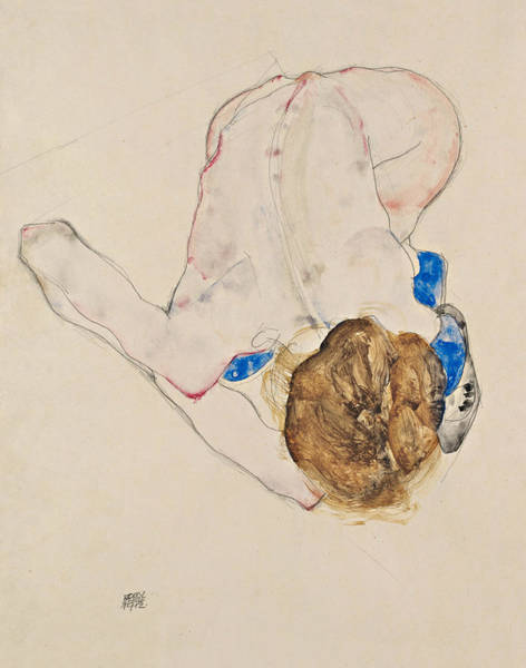 Austrian Drawing - Nude With Blue Stockings, Bending Forward by Egon Schiele
