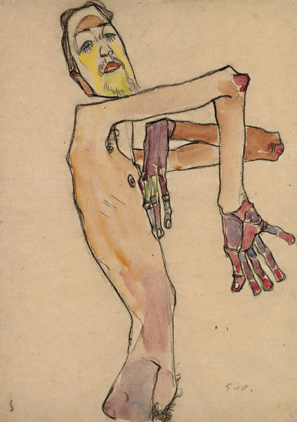 Selfportrait Painting - Nude With Crossed Arms by Egon Schiele
