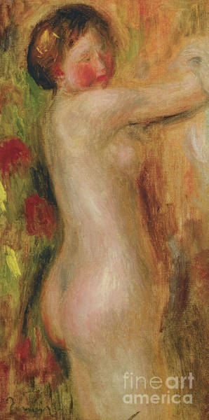 Rosy Wall Art - Painting - Nude With Raised Arm  by Pierre Auguste Renoir