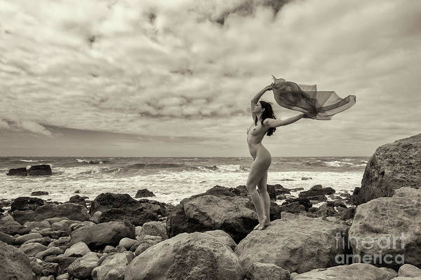 Photograph - Nude Woman And Material On The Beach by Clayton Bastiani