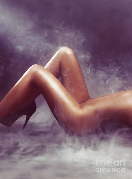 Wall Art - Photograph - Nude Woman Body In Clouds Of Smoke by Oleksiy Maksymenko