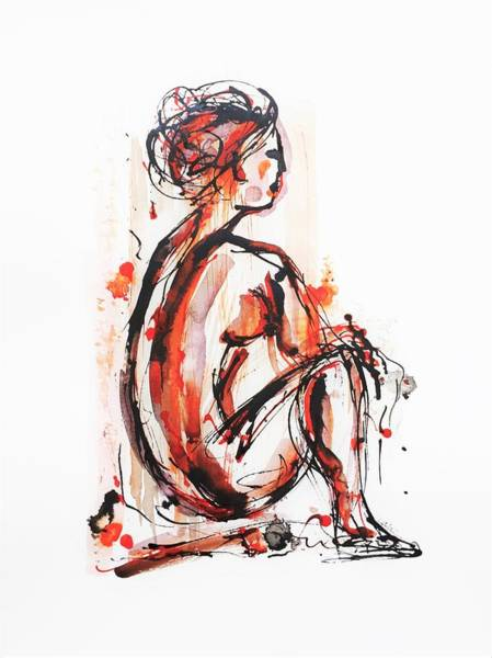 Painting - Nude Woman - Ink On Paper by Cristina Stefan