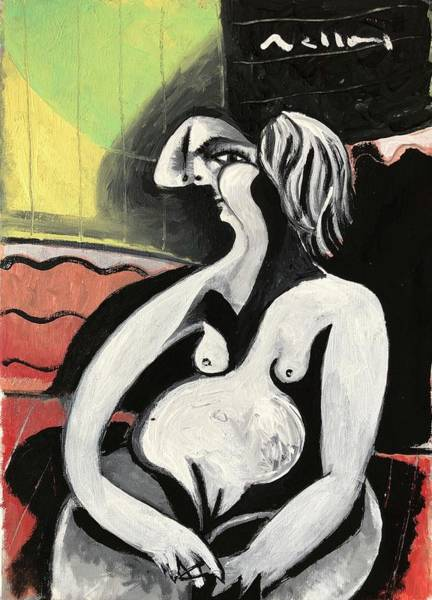 Wall Art - Painting - Nude Woman On Red Pillows  by Mark M Mellon