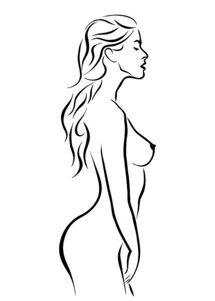 Wall Art - Digital Art - Nude Woman Profile Illustration by Ricky Barnard