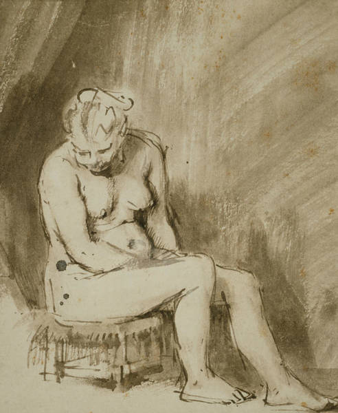 Drawing - Nude Woman Seated On A Stool  by Rembrandt