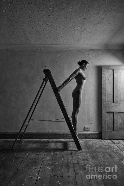 Photograph - Nude Woman Standing On Ladder by Clayton Bastiani