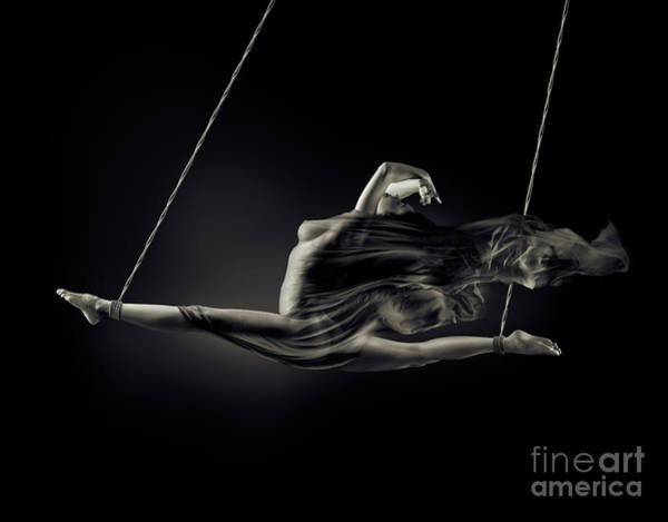 Wall Art - Photograph - Nude Woman Swinging In Splits In The Air With Bondage Rope And F by Oleksiy Maksymenko