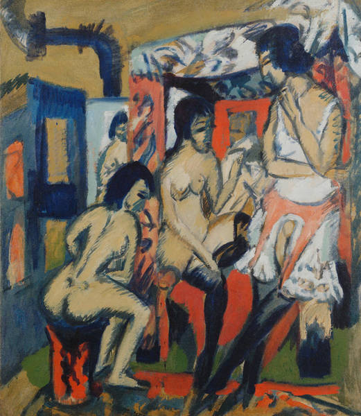 Painting - Nudes In Studio by Ernst Ludwig Kirchner