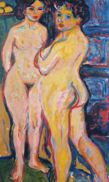 Painting - Nudes Standing By Stove by Ernst Ludwig Kirchner