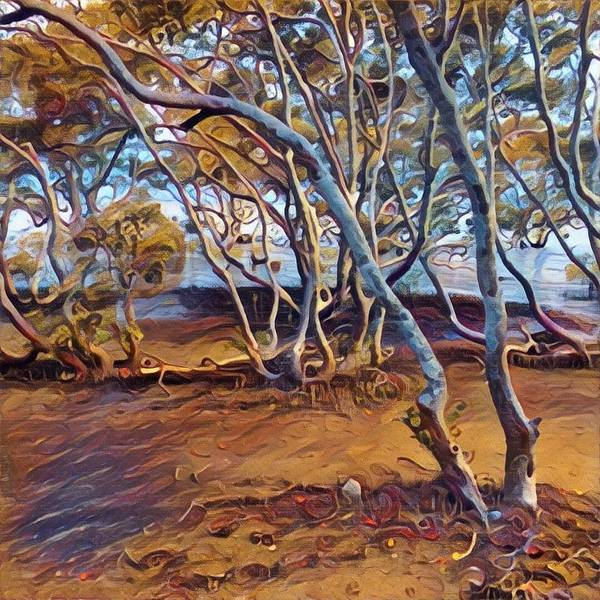 Queensland Digital Art - Nudgee Beach Eucalypts by Anthony Robinson