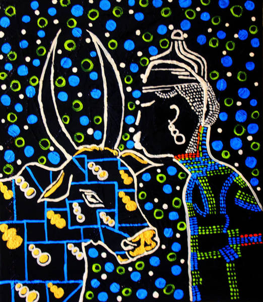 Painting - Nuer Groom - South Sudan by Gloria Ssali